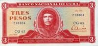 3 Pesos 1985 Cuba Pick 107a unc/kassenfrisch