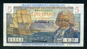 5 Francs ND(1950-60) Saint Pierre Miquelon Pick 22 unc/kassenfrisch  85,00 EUR  +  6,50 EUR shipping