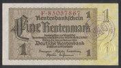 1 Rentenmark  Deutsche Rentenbank Ros.166f 1  250,00 EUR  zzgl. 4,50 EUR Versand