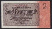 2 Rentenmark  Deutsche Rentenbank Ros.167a/Serie A 1  60,00 EUR  zzgl. 4,50 EUR Versand