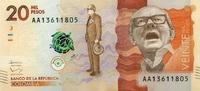 20.000 Pesos 19.8.2015 Kolumbien - New Design - 2015 unc/kassenfrisch  16,50 EUR  +  6,50 EUR shipping