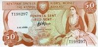 50 Cents 01.11.1989 Zypern P.52 unc/kassenfrisch  14,50 EUR  +  6,50 EUR shipping