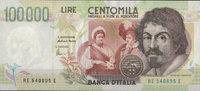 100.000 Lire  Italien Pick 117b unc  115,00 EUR  zzgl. 4,50 EUR Versand