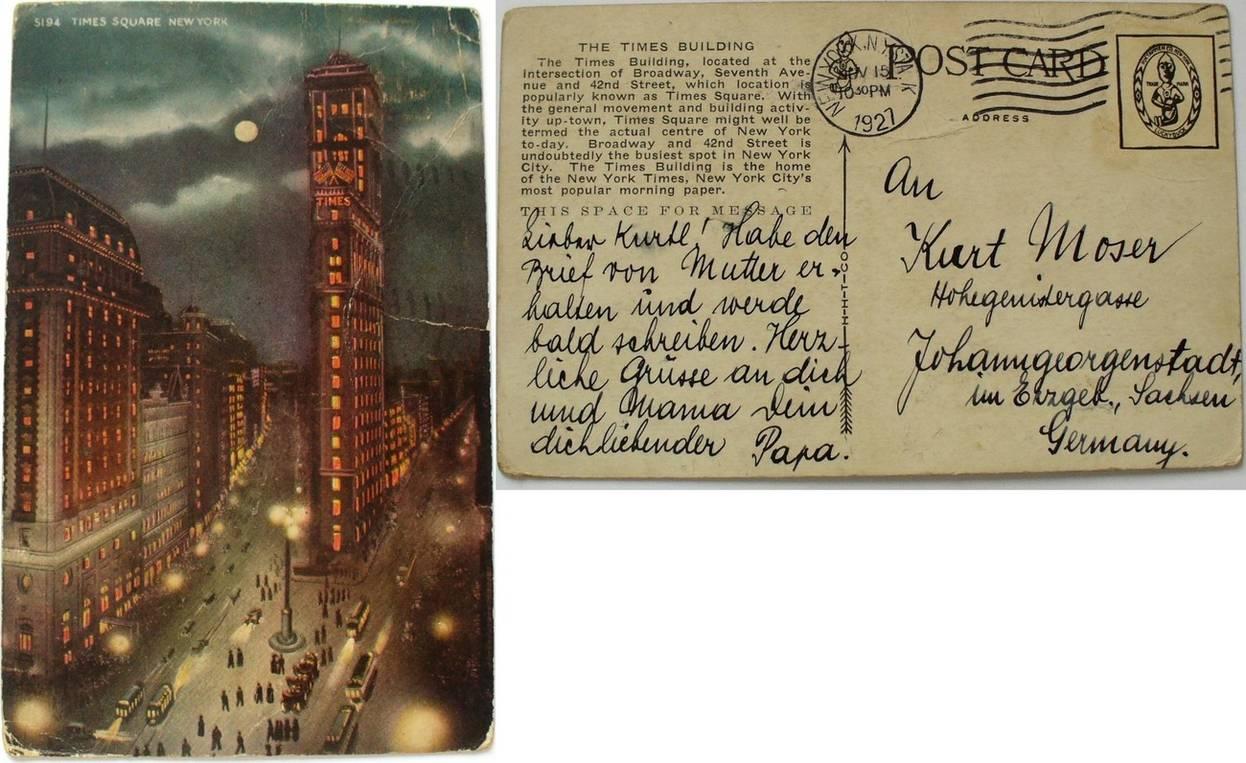 Ansichtskarte 1927 Usa Ansichtskarte Gelaufen New York Ef русские