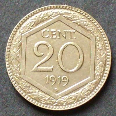 20 Centesimi 1919 Italien S61 K N Gekröntes Wappen Wert Im