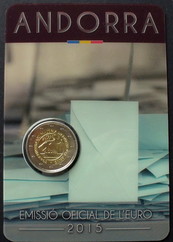 2 euro 2015 andorra bime in original coincard 30. Black Bedroom Furniture Sets. Home Design Ideas