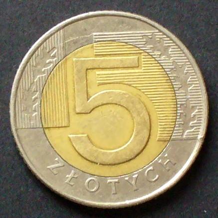 5 Zlotych 1994 Polen S290 Bime Gekrönter Wappenadler Wert Und
