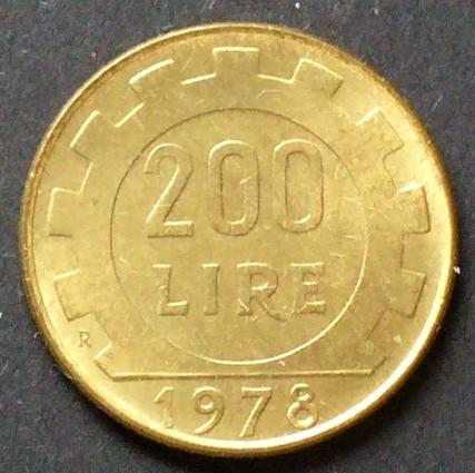 200 Lire 1979 Italien S104 Al N Bro Kopf Der Italia Zahnrad
