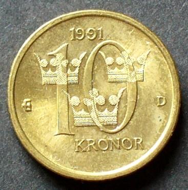 10 Kronor 1991 Schweden S A90 Al Bro Carl Xvi Gustaf