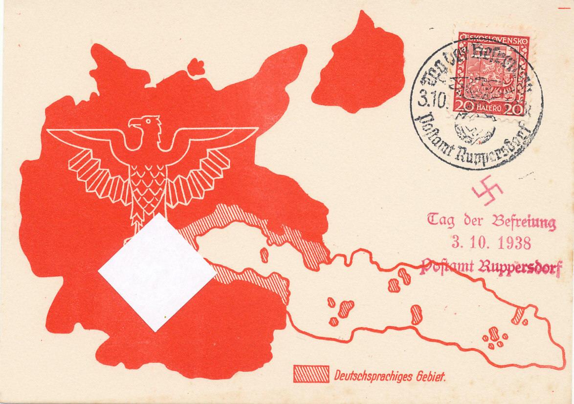 Deutsches Reich Karte.Propaganda Karte 1938 Deutsches Reich Drittes Reich Einmarsch Sudeten Ruppersdorf Tag Der Befreiung Ungelaufen Mit Sonderstempel Leichte
