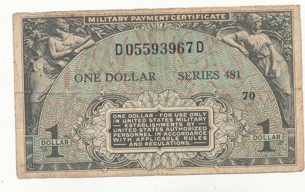 1 Dollar 1951 1954 Usa Militrgeldmilitary Payment Certificate