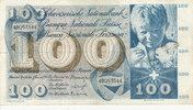 100 Franken 21.1.1965 Schweiz P49g gebrauc...