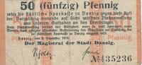 50 Pfennig 1916 Deutsches Reich,Danzig, Ma...