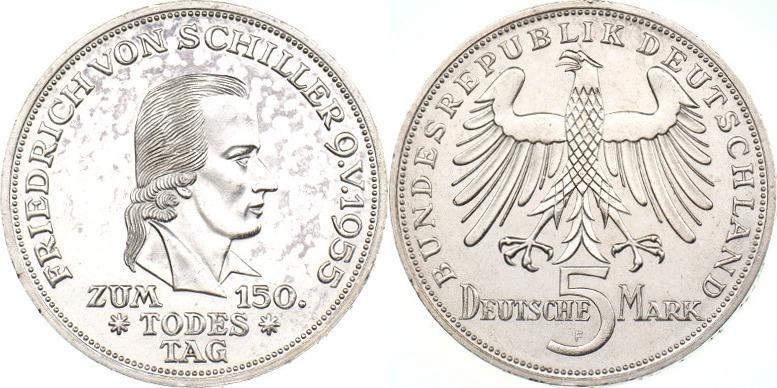 5 Dm 1955 Brd Friedrich Von Schiller Sup Ber Ma Shops