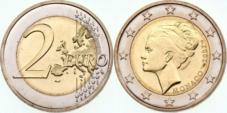 2 Euro 2007 Monaco Grace Kelly Im Originaletui Und