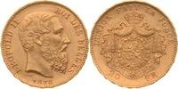 20 Francs 1878 Belgien Leopold II. vz+