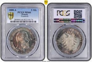 PCGS certified 5 Mark 1888  A Preußen Friedrich III. 1888. PCGS MS 66