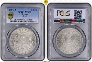 PCGS certified 5 Mark 1906  J Bremen  PCGS MS 66