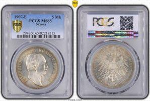 PCGS certified 5 Mark 1907  E Sachsen Friedrich August III. 1904-1918. PCGS MS 65