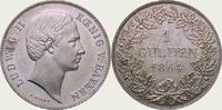 Gulden 1864 Bayern Ludwig II. 1864-1886. Fast Stempelglanz  364.58 US$  +  11.22 US$ shipping