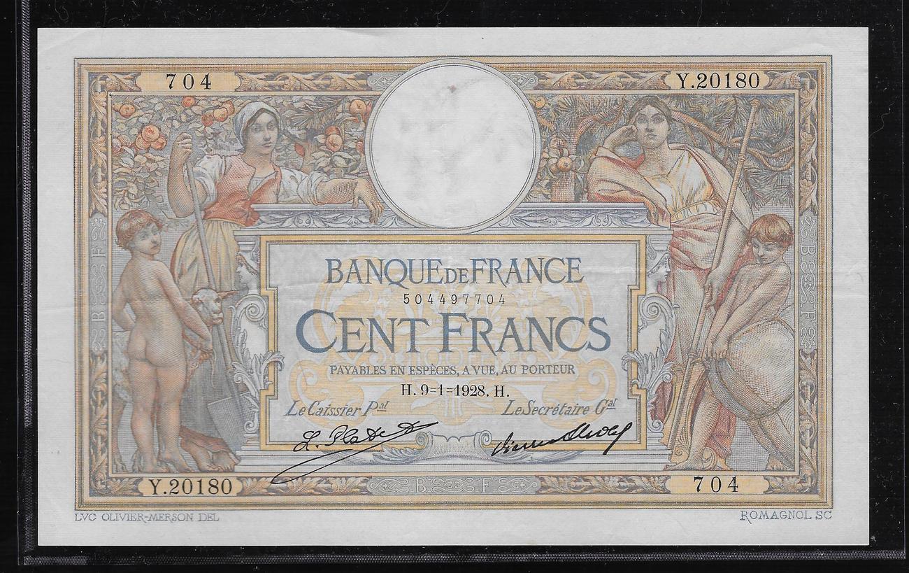 100 FRANCS 09 01 1928 FRANCE