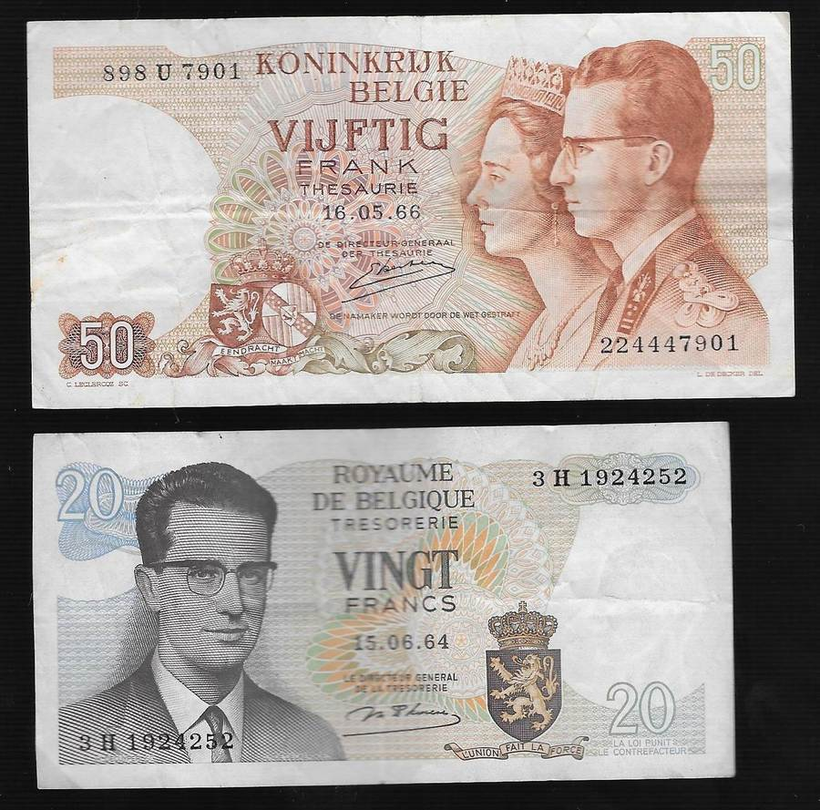 VF Belgium P 139-50 Francs 1966