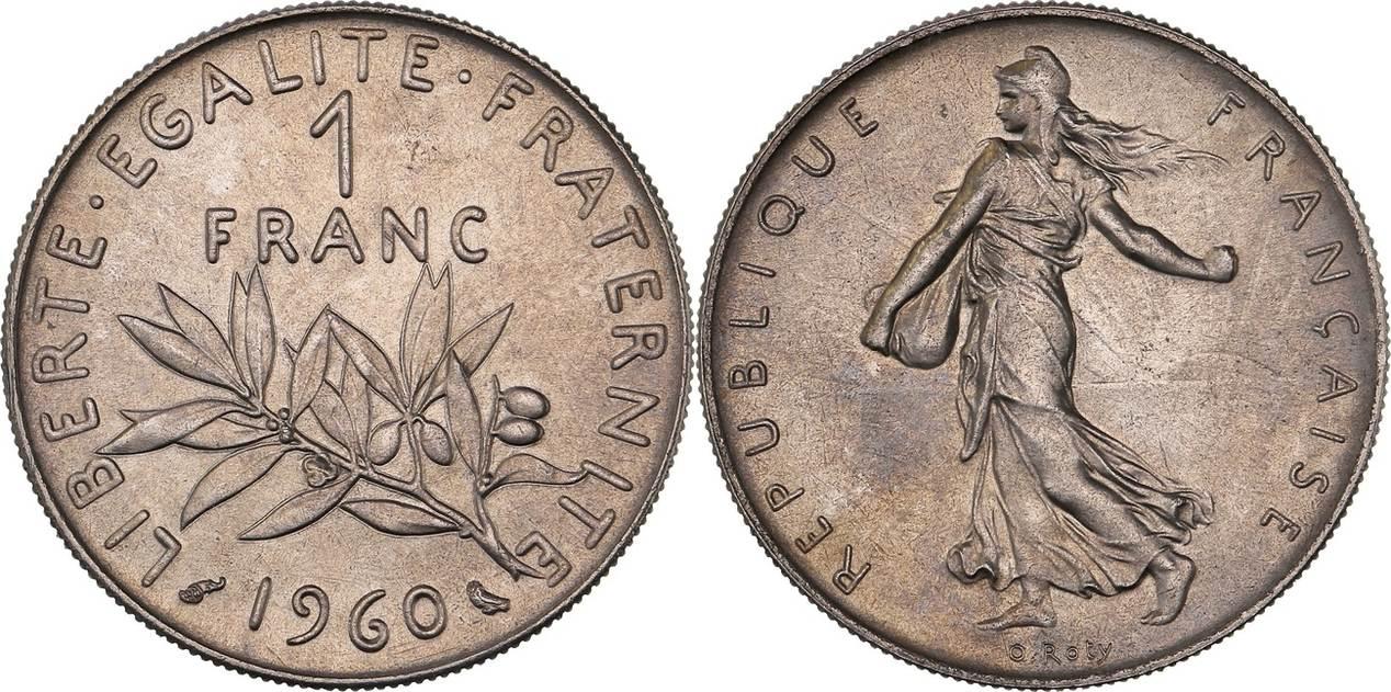 1 Franc 1960 France Quot Semeuse De O Roty Quot Ms64 Bankfrisch
