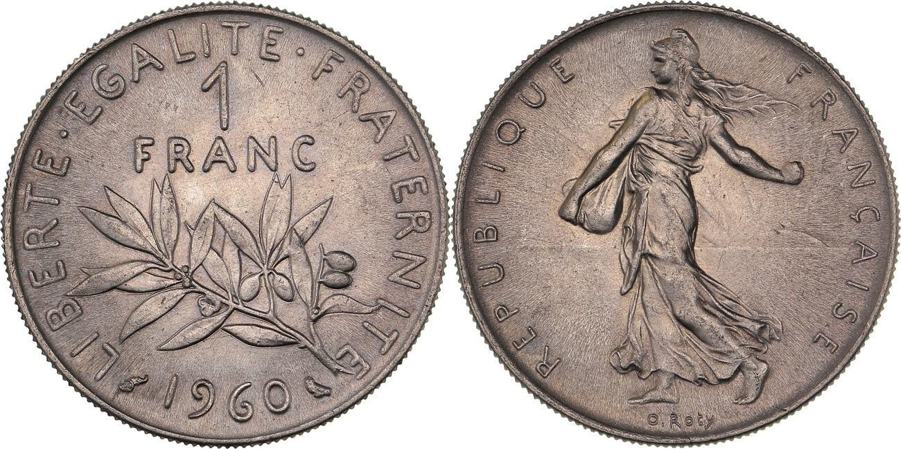 1 Franc 1960 France Quot Semeuse De O Roty Quot Ms63 Bankfrisch