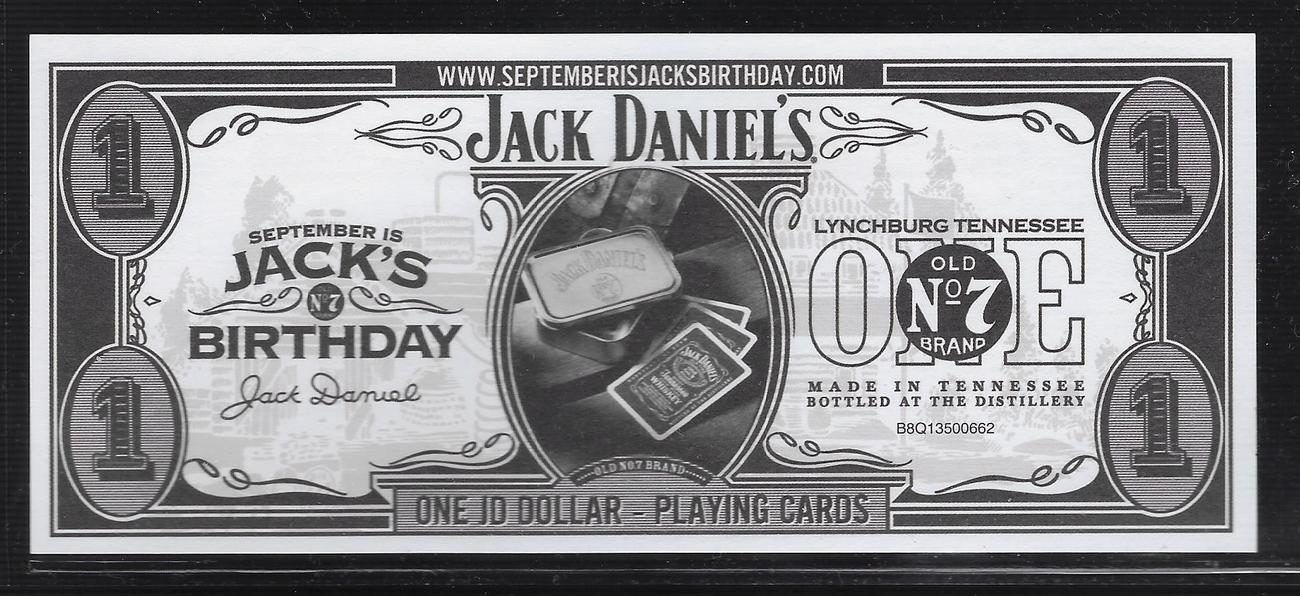 One Jd Dollar Playing Cards 2007 United Kingdom Jack Daniels Fast Unc Ma S