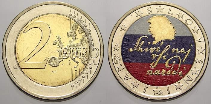 2 Euro Farbe Coloriert 2007 Slowenien Spl Ma Shops
