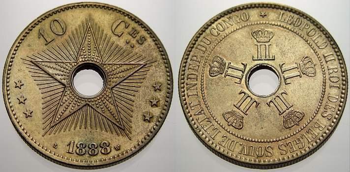 10 Centimes 1888 Kongo Belgisch Kongo Leopold Ii 1885 1909 Schöne