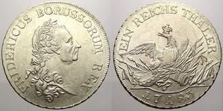 Taler 1783  A Brandenburg-Preußen Friedrich II. 1740-1786. Sehr selten in dieser Erhaltung. Vorzüglich-stempelglanz mit Prägeglan
