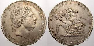 Crown 1820 Großbritannien George III. 1760-1820. Sehr schön+