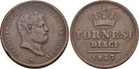 Cu-10 Tornesi 1857, Italien Ferdinand II. ...