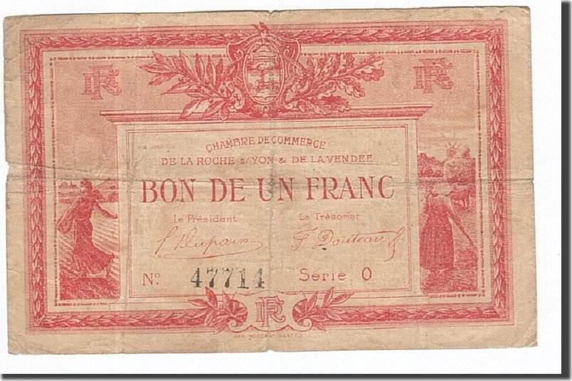 1 franc 1915 france banknote pirot 65 17 la roche sur yon ef 40 45 ma shops. Black Bedroom Furniture Sets. Home Design Ideas