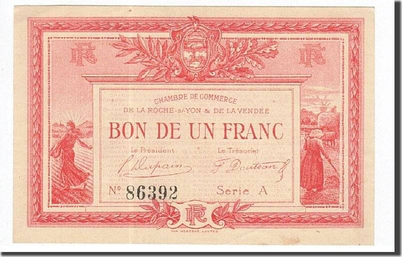 1 franc 1915 france banknote pirot 65 5 la roche sur yon au 55 58 ma shops. Black Bedroom Furniture Sets. Home Design Ideas