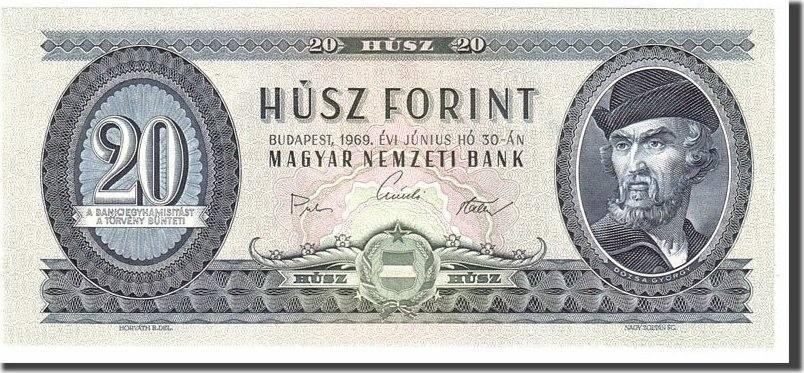20 Forint 1969 Hungary Banknote, 1969-06-30, KM:169e UNC(65-70)