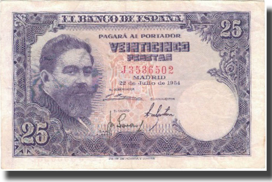25 Pesetas Bank Note from Spain Issued 1954