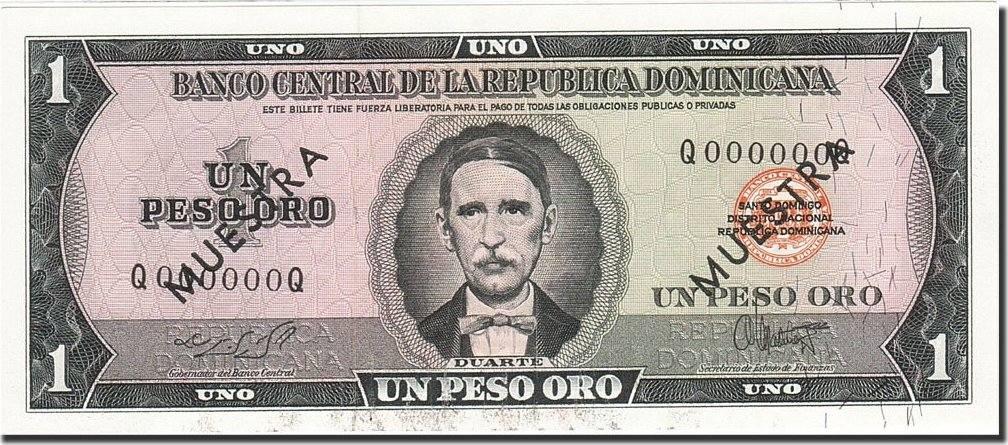 1 Peso Oro 1975 Dominican Republic Banknote 1978 Km 108s Au 55 58 Ma S