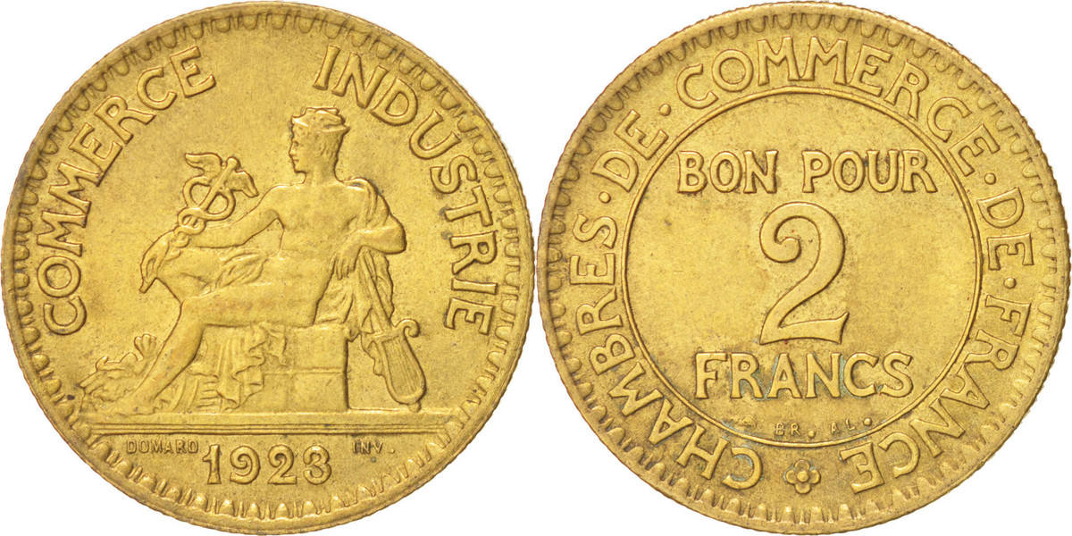 2 francs 1923 paris france french chamber of commerce for Chambre de commerce polonaise en france