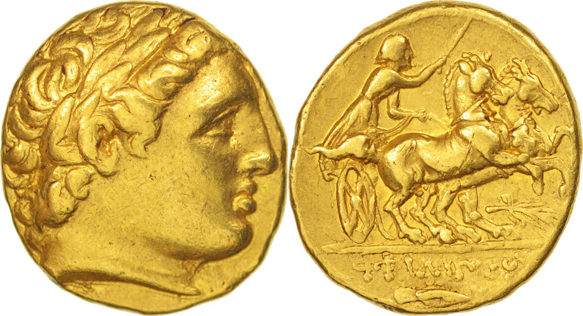 Stater 359-336 BC Coin, Philip II, Macedonia, Gold, SNG ANS:318 AU(50-53)