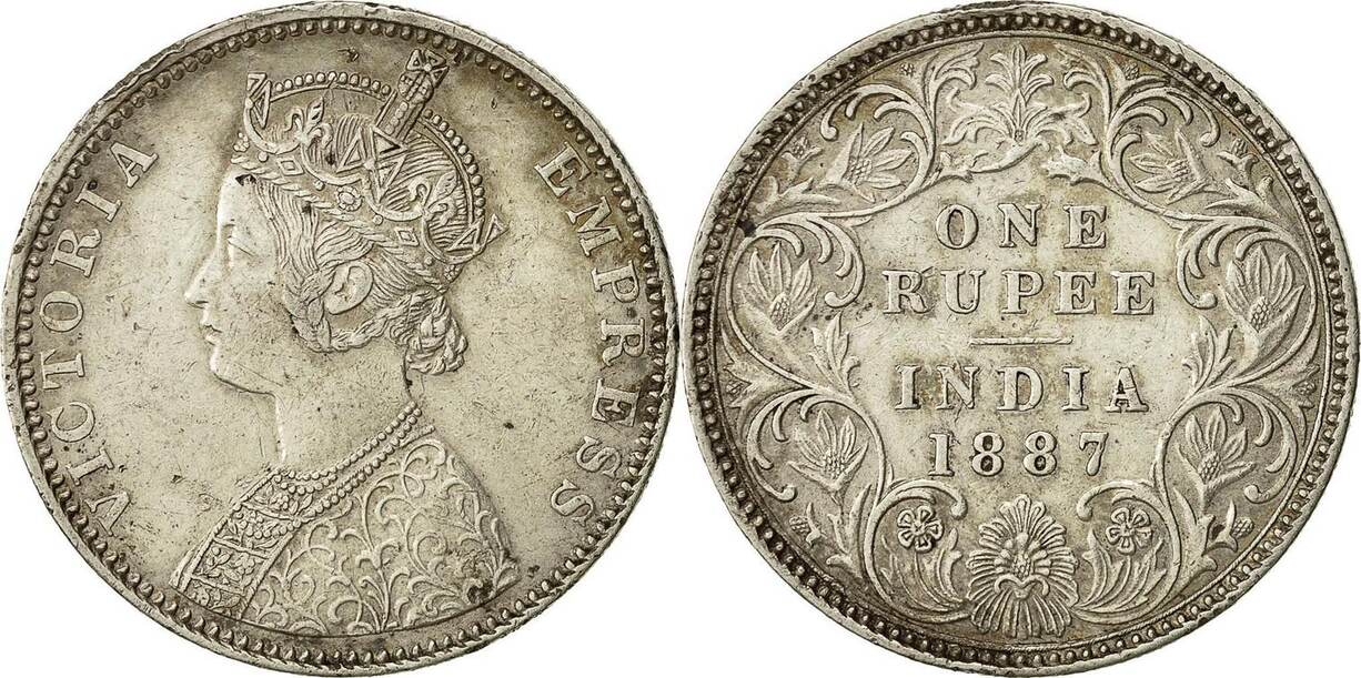 Rupee 1887 B INDIA-BRITISH Coin, Victoria, Bombay, Silver, KM 492 AU(50-53)