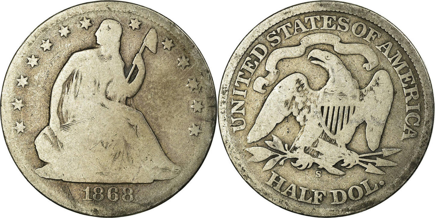 Half Dollar 1868 S United States Coin Seated Liberty Half Dollar