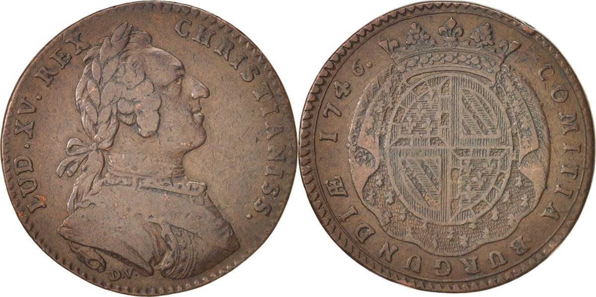 token 1746 france etats de bourgogne copper feuardent 9849 vf 30 35 ma shops. Black Bedroom Furniture Sets. Home Design Ideas