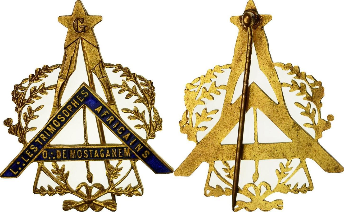 Medaille Algeria Masonic, Loge des Trimosophes Africains, Orient de  Mostaganem AU(55-58)