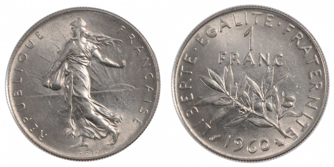 Franc 1960 Paris France Coin Semeuse Nickel Km 925 1 Ms 60 62