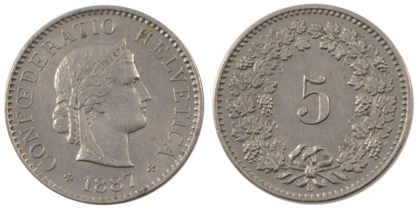 5 Rappen 1887 B Switzerland Coin, Bern, Copper-nickel, KM:26 AU(55-58)