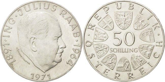 50 Schilling 1971 Austria Coin, Silver, KM:2911 MS(60-62)