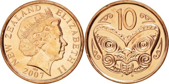 10 Cents 2006 (o) New Zealand Coin, Elizabeth II, Copper