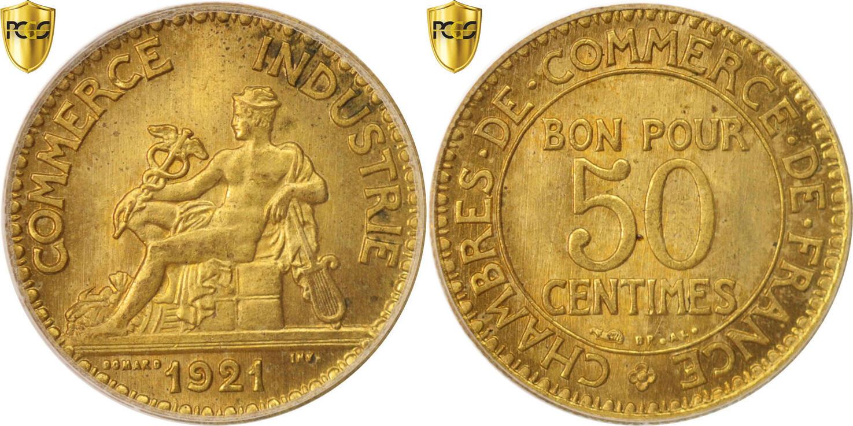 50 centimes 1921 paris france coin chambre de commerce for Chambre de commerce canada france